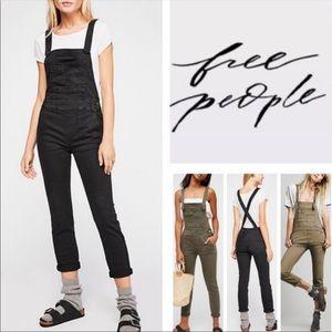 Free People Washed Black Denim Overalls size 27